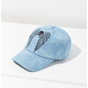 UO Baseball Cap Embroidered Wings & Skull Blue